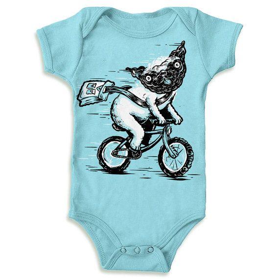 Biking Pug  Baby Onesie by QuarrelsomeYeti on Etsy, $20.00