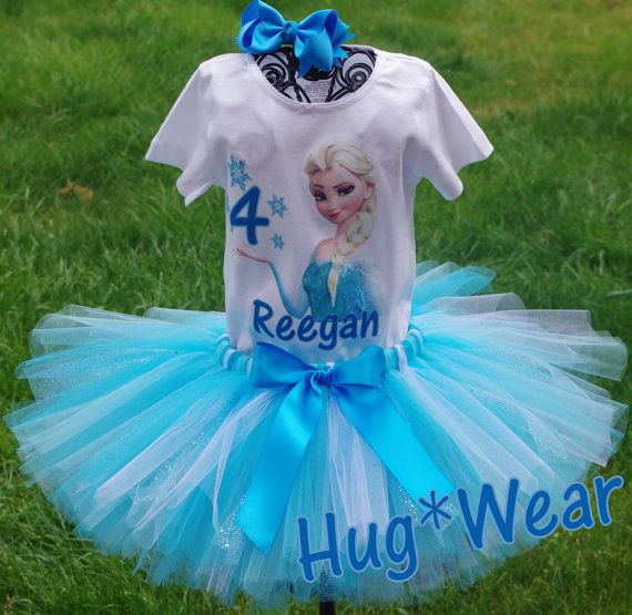 Custom Elsa Frozen Princess Birthday Shirt Tutu Outfit by HugWear