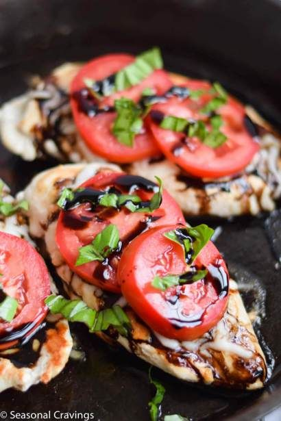 Five Ingredient Caprese Chicken - Easy to prepare with pantry staples.  Gluten free and low carb!