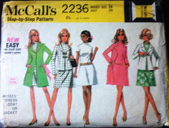 McCall's 2236 Misses Dress Coat Jacket by VictorianWardrobe, $6.00
