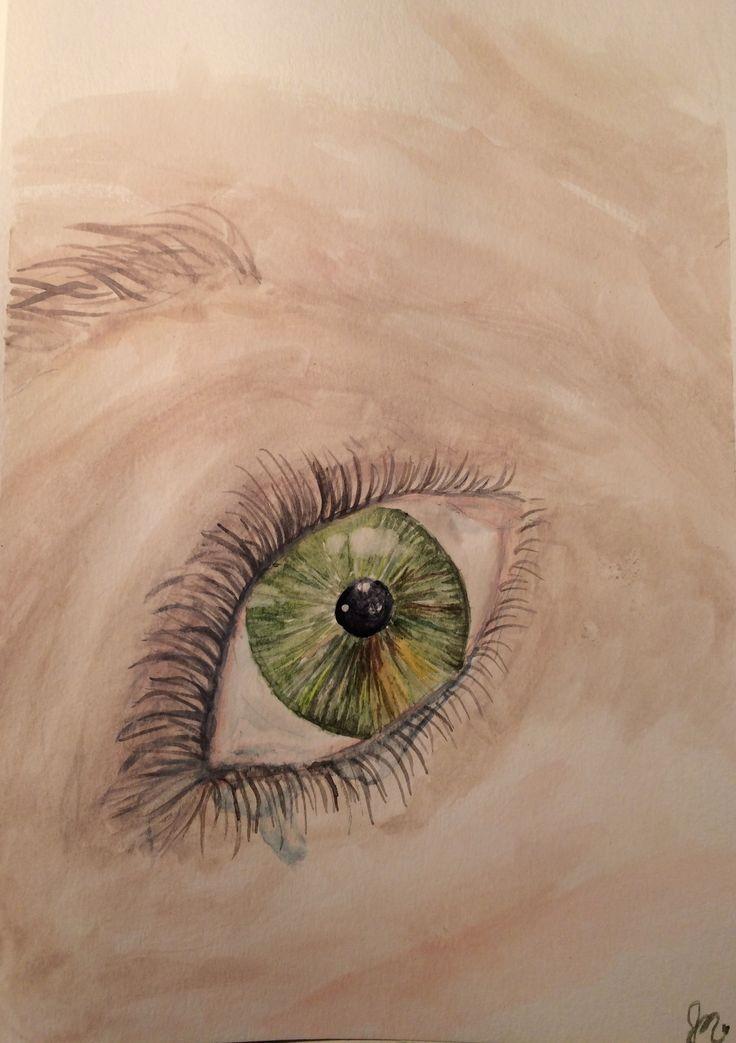 Tear in eye. Watercolour