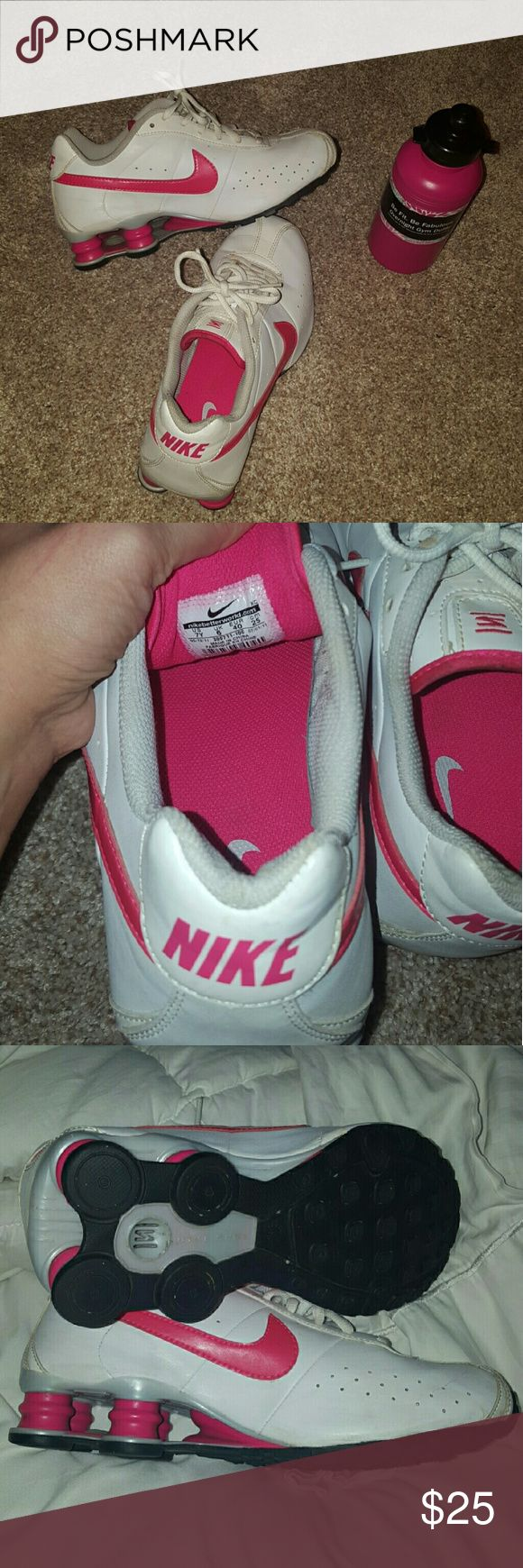 NIKE SHOCKS Hot pink and white These shoes are in great condition. Some slight signs of wear from the handful of times I've worn them. The size says:  US 7Y (as shown in picture #2)  but I wear a women's 7 or 8 depending on the shoe and these fit perfectly Nike Shoes Sneakers
