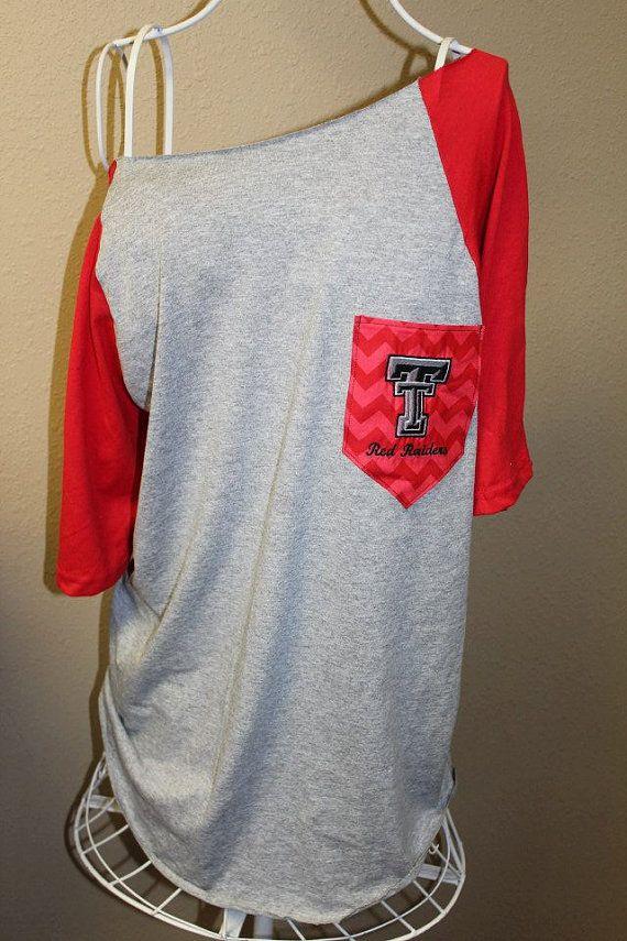 Texas Tech Red Raiders Pocket Off-the-Shoulder Shirt Chevron on Etsy, $32.00