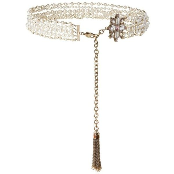 St. John Pearl  Swarovski Crystal Tassel Chain Belt (10.574.295 IDR) ❤ liked on Polyvore featuring accessories, belts, natural, wrap belts, tassel belt, st. john, chain belts and swarovski crystal belt