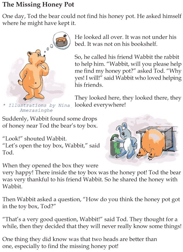 grade 1 reading lesson 16 mystery the missing honey pot 1 english reading comprehension. Black Bedroom Furniture Sets. Home Design Ideas
