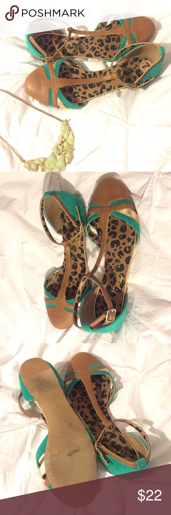 jessica simpson // ankle strap flats EUC Jessica Simpson teal, gold, and brown flats with ankle strap. Worn once- in perfect condition without defects. Fits TTS. Jessica Simpson Shoes