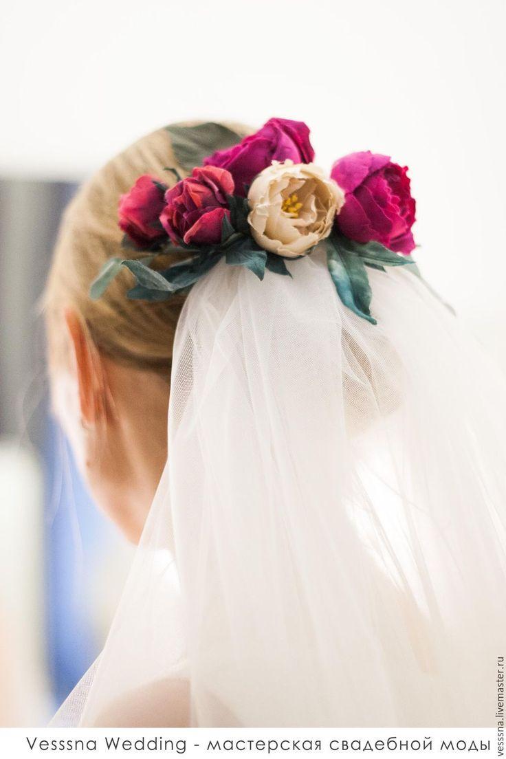Купить Фата с шелковыми цветами - свадебная фата, венчальная фата, цветная фата, украшение для невесты