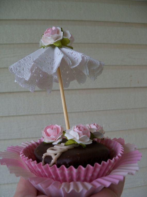 Compleanno decorazione tre Parasol Cupcake Toppers per di JeanKnee