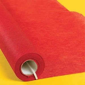 15' Red Carpet Aisle Runner Hollywood Movie Star Party.... or we could use a red tablecloth. $13.99