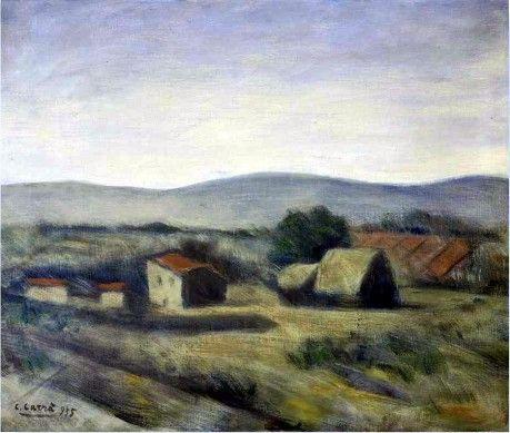 """Carlo Carrà (Quargnento 1881 - Milano 1966), """"Paesaggio toscano"""", 1955 Museo La Permenente, Milano"""