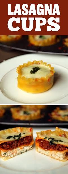 Baked Lasagna Cups. Gotta try this recipe, but with lean turkey.