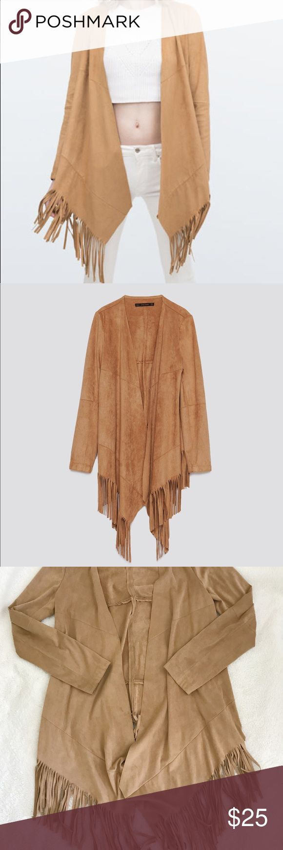 🧡ZARA SUEDE FRINGE JACKET🧡 Only worn once! In excellent condition!   I always ship within 12-24 hours ⏰ Send me an offer 💌  ♥️ DO NOT ASK ME MY LOWEST OR MAKE AN OFFER THROUGH THE COMMENTS SECTION, ONLY OFFERS MADE THROUGH THE OFFER BUTTON ARE CONSIDERED, I WILL NOT REPLY TO YOUR COMMENT♥️  🔥ON GOING SALE: BUY 2 GET 1 FREE ON ALL ITEMS $10 & BELOW! ADD THEM TO A BUNDLE TO RECEIVE DISCOUNTED PRICE🔥 Zara Jackets & Coats