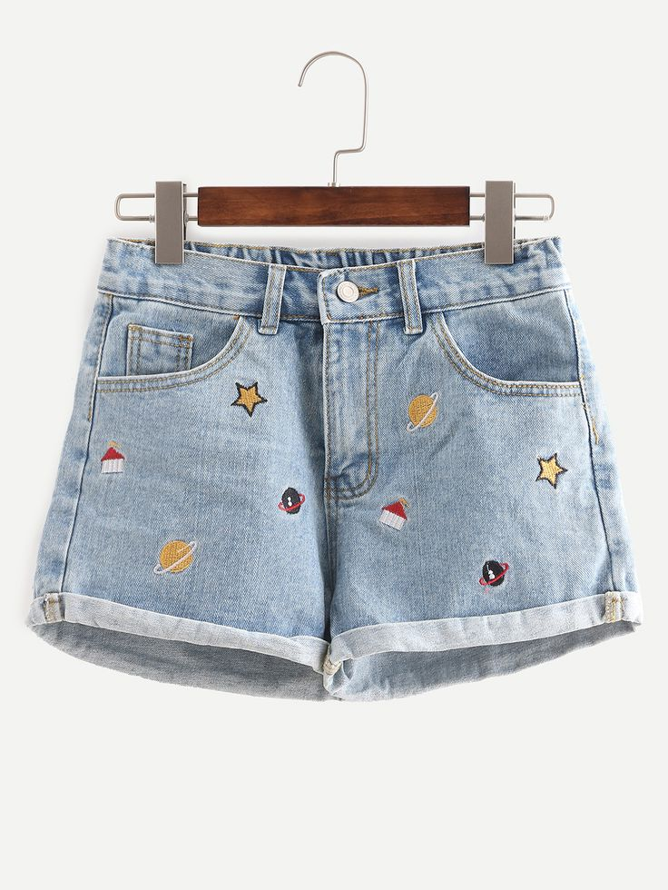Shop Blue Embroidered Cuffed Denim Shorts online. SheIn offers Blue Embroidered Cuffed Denim Shorts & more to fit your fashionable needs.