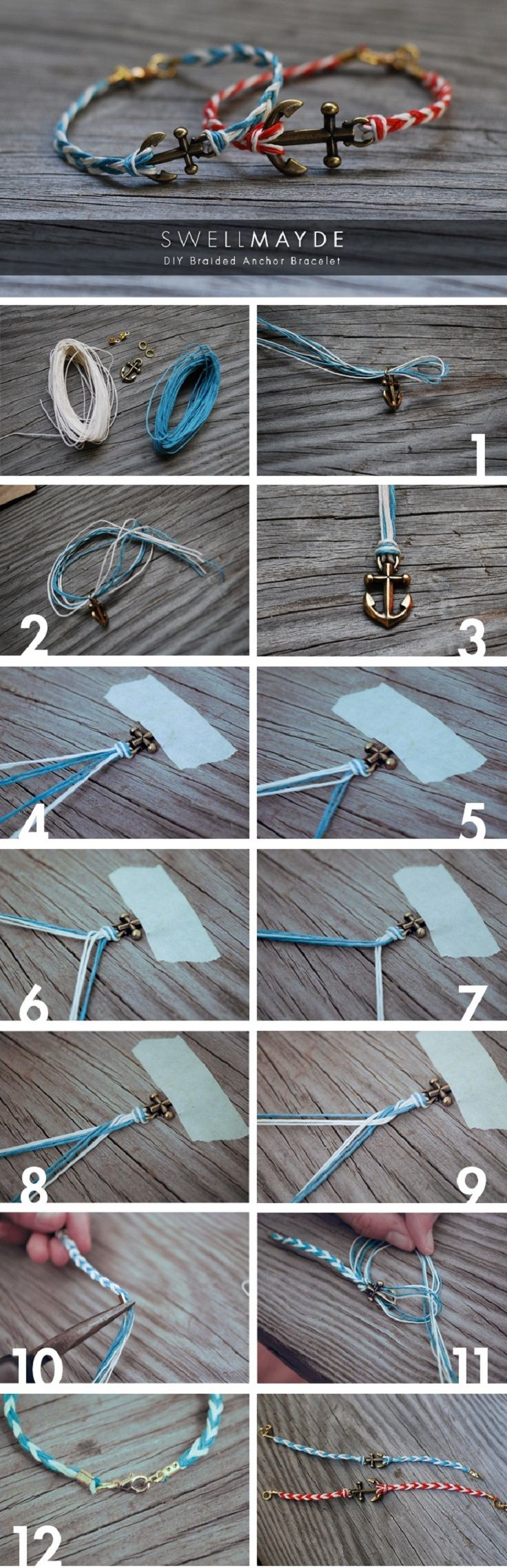 DIY Fishtail Anchor Bracelet. See here for a bundle of other engaging fun craft projects. http://www.topinspired.com/top-10-fun-craft-ideas/