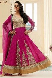 Beautiful Prity in Pink Color Anarkali Suit