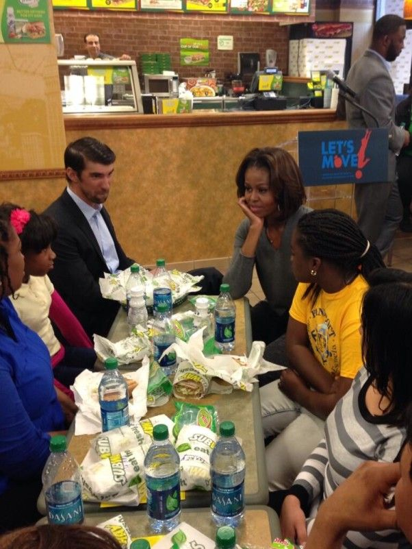 First Lady Michelle & Michael Phelps grab lunch at Subway with kids in DC.