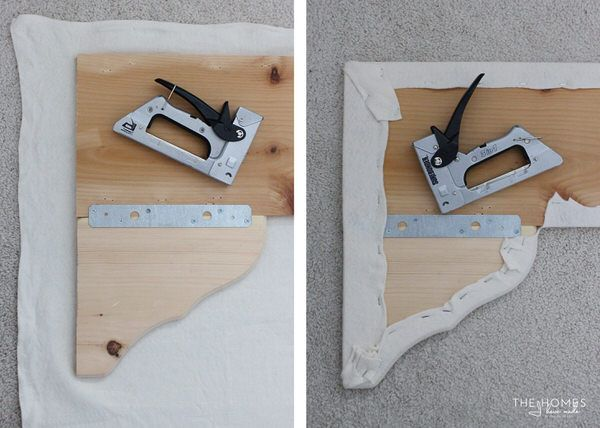 DIY Simple Cornice Box Tutorial- simple scallop created using purchased  wood brackets attached to a
