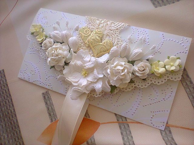 свадебный конверт жемчужно-кремовый - Конверт для денег,подарочный конверт