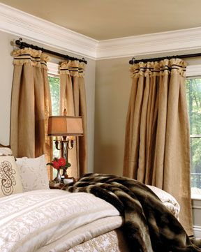 For The Love of Burlap - Domestically Speaking (the tops of the curtain...love the idea of black ribbon as accent on burlap)