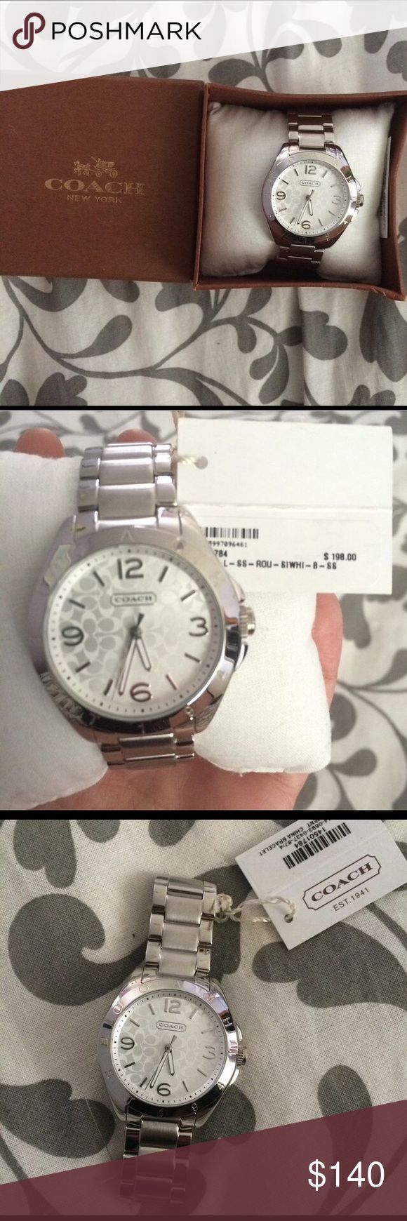 Authentic Coach silver watch. Brand new, in box. Beautiful Coach women's watch with price tag still on (original $198)! Comes with user manual, and original watch pillow. May need new batteries, but aside from that is brand new, mint condition. Has never been worn. Coach Jewelry