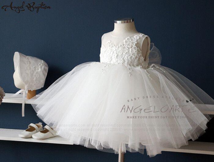 Элегантный Белый/Слоновая Кость бальное платье платье девушки цветка младенца младенческой крещение платья крещение платье принцессы кружева благословение с капота