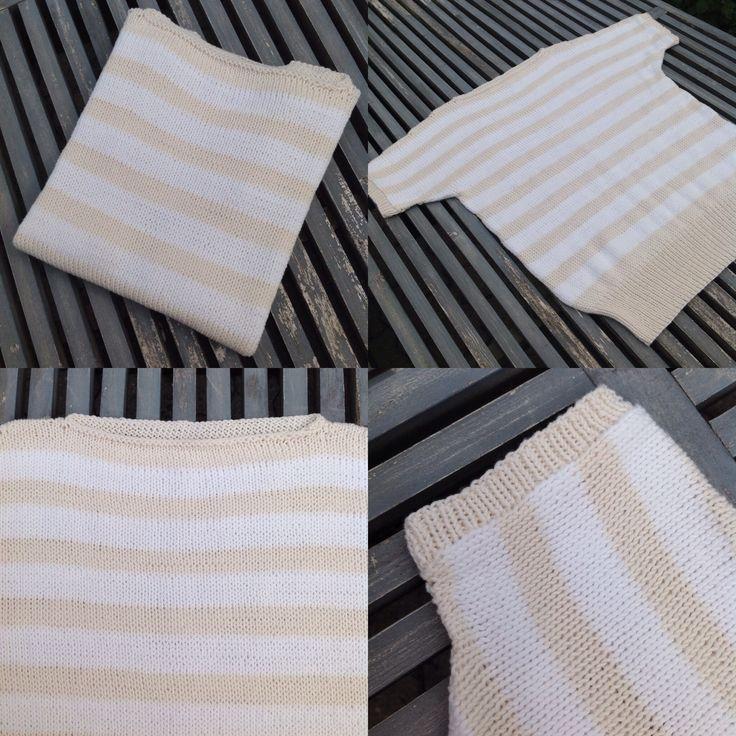 Stripete sommertopp strikket i mandarin naturell og -Petit