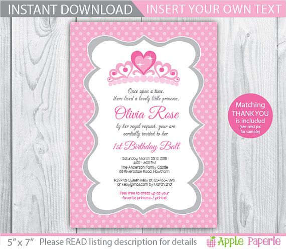 Best 25 Princess invitations ideas – 1st Birthday Princess Invitation