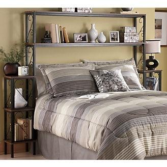 Headboard shelving unit home improvement pinterest for Over bed shelving unit
