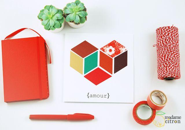 Free printable valentine's card - Carte saint valentin à imprimer