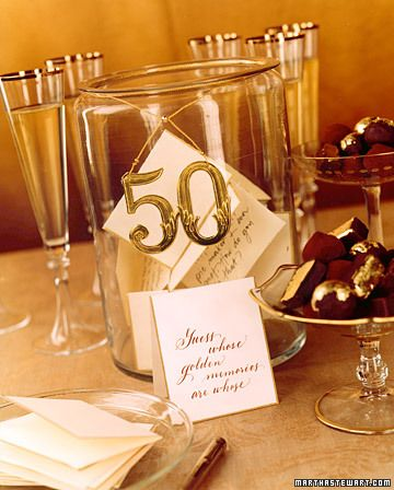 Have each guest write his or her favorite memories of the couple and place them in a designated jar.  At the end of the party, place the cards in a book made of envelopes created by gluing each flap to the next envelope. Tie with a gold ribbon, and present it to the golden couple.