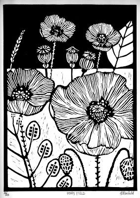Poppies linoprint by Helen Maxfield