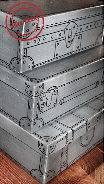 retro-koffer-kartons ... schuhkartons im koffer stil bemalt ... tolle verpackung ... eine einfache bastel anleitung zum selbermachen.