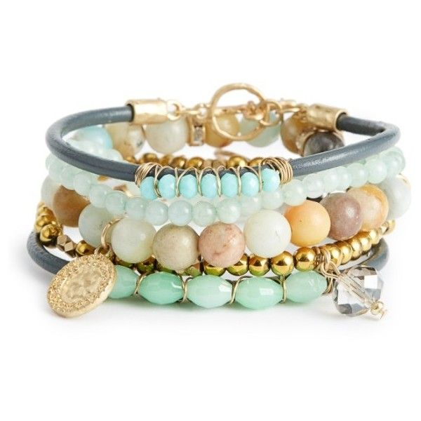 Women's Canvas 5-Piece Semiprecious Stone Stacking Bracelet ($38) ❤ liked on Polyvore featuring jewelry, bracelets, green, semi precious jewelry, semiprecious stone jewelry, semi precious stone jewelry, stackers jewelry and semi precious stone jewellery