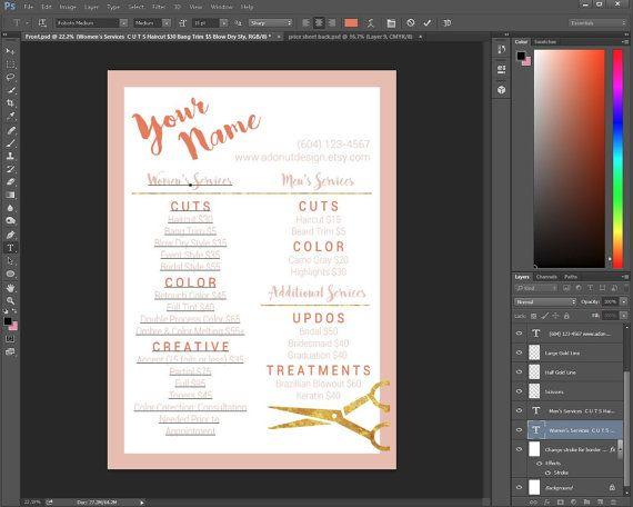 42 best Salon Menu images on Pinterest | Business card design ...