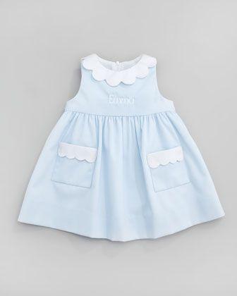 Florence Eiseman Monogrammed Scalloped Pincord Dress, Light Blue, 12-24 Months - Neiman Marcus
