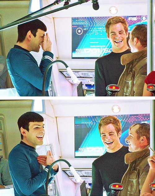 Zachary Quinto, Chris Pine, & Simon Pegg. ❤