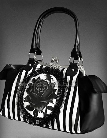 Black & White Cameo Rose Print Gothic Bag
