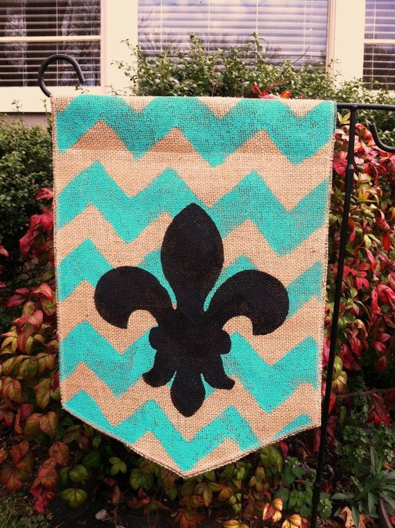 Burlap Garden Flag Teal Chevron and Black by ModernRusticGirl
