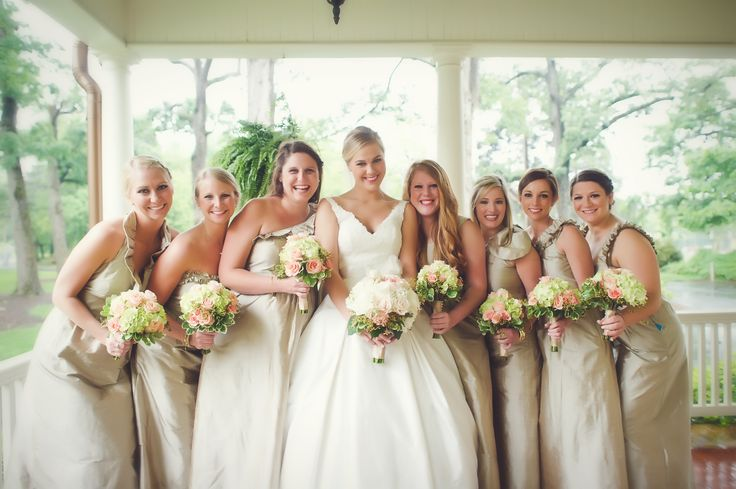 Bridesmaids in various long LulaKate bridesmaids dresses // LulaKate Real Weddings // Photography by Angela Tucker