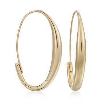 Ross-Simons - 14kt Yellow Gold Oval Wire Hoop Earrings - #788536: Gold Hoop Earrings, Gold Oval, Yellow Gold, Gold Silver Beads, 14Kt Yellow, Gold Hoops, Wire Hoop