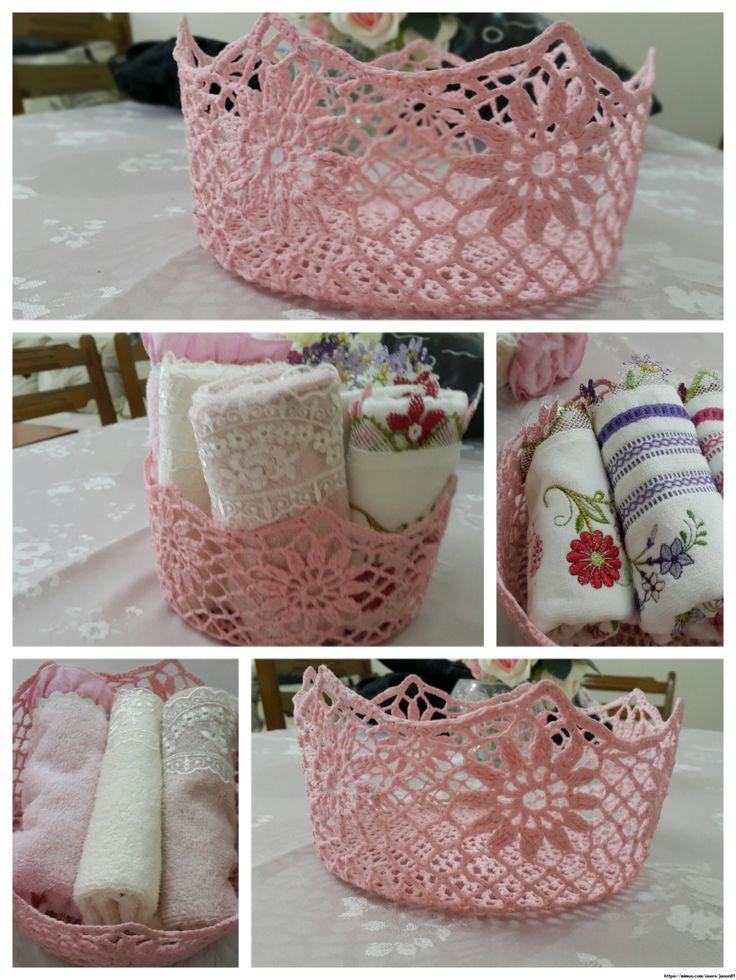 Dantel Sepet ,  , Cotton ip ile yaptığım ve çiçek tutkalı ile sertleştirdiğim dantel sepetim, ekmek sepeti olarak da kullanılabiliyor....