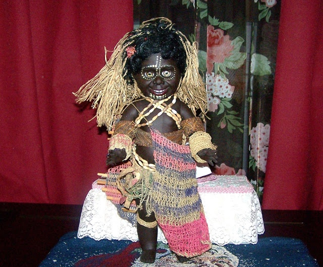Metti Doll, Burns Philip shipped the Australian made dolls to Papua New Guinea where they were dispersed to the villages and dressed by the village women. 1970's vintage doll.