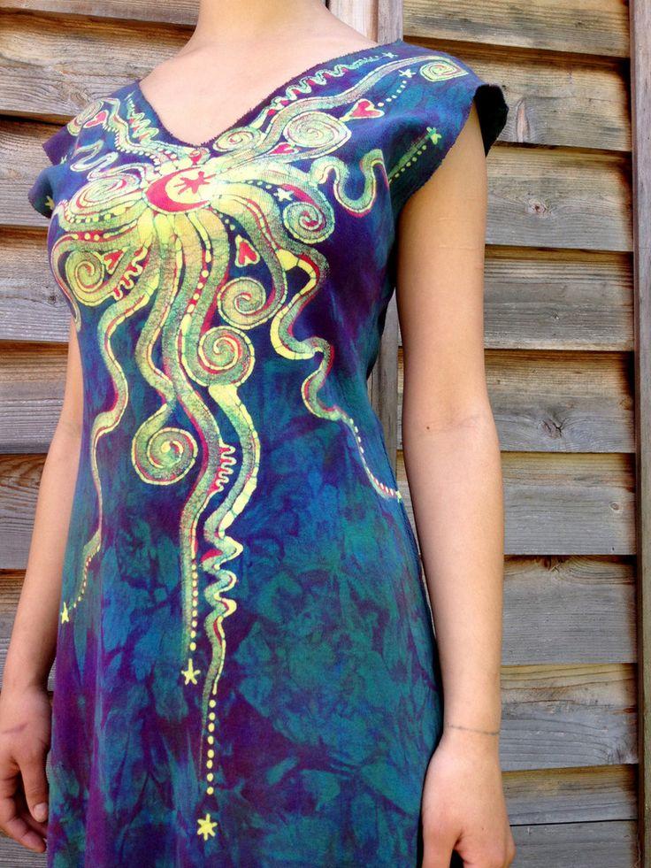 Sunrise Moon Star Organic Cotton Batik Dress - Custom Made