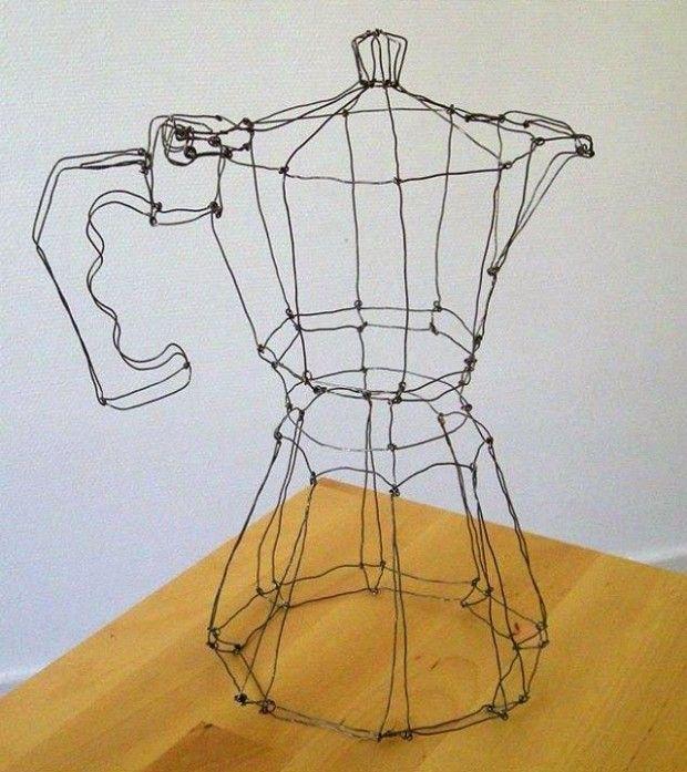 sculpture cafetière italienne en fils de fer