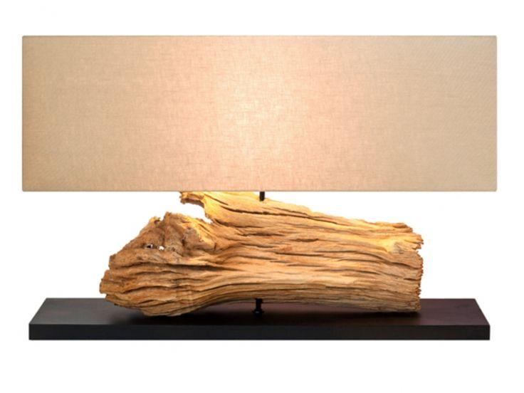 Lampe à poser KIRUNA en bois flotté - H.52 cm