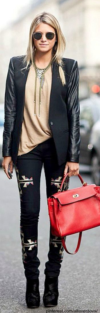 Street style - patterned jeans and leather