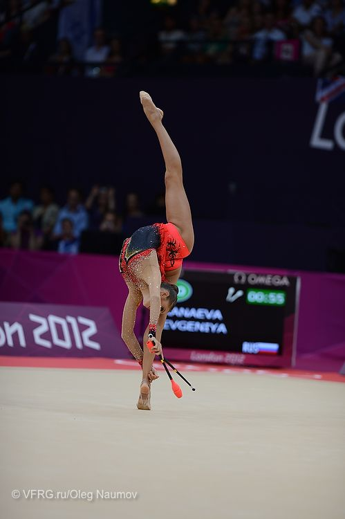 Evgeniya Kanaeva performing clubs at the 2012 London Olympics in Rhythmic Gymnastics