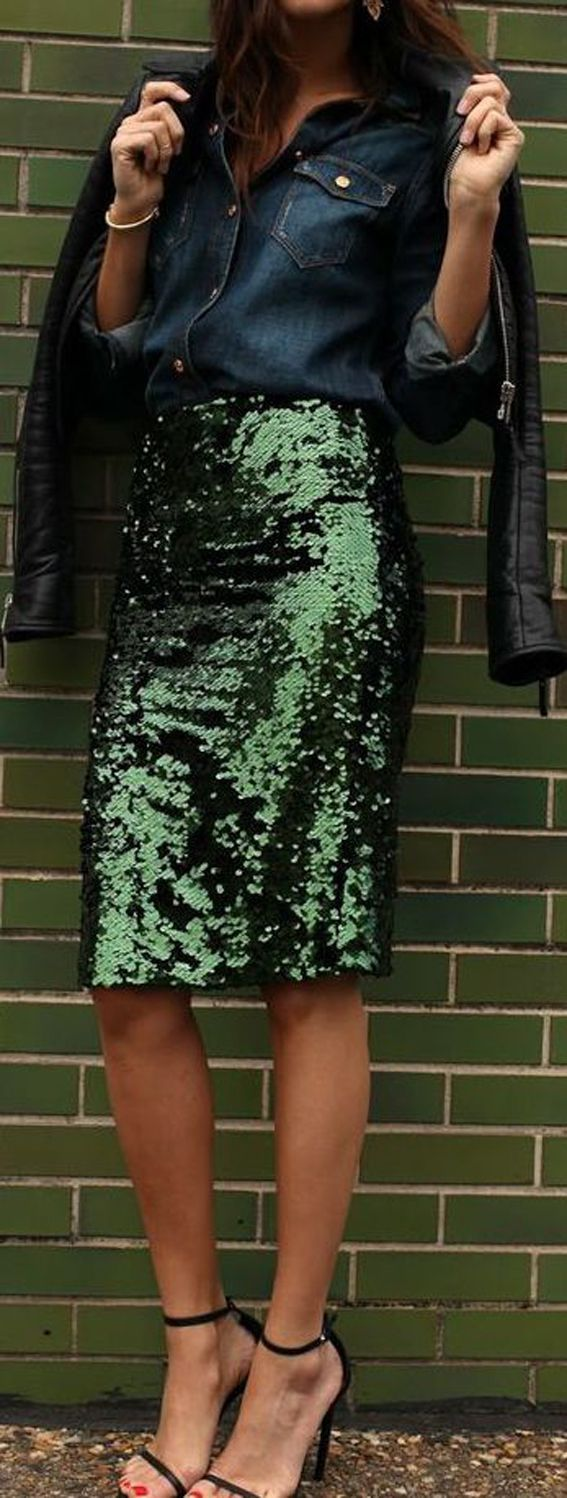 Looks I Love Love LOVE the Shade of Green! Strappy High Heels + Emerald Green Sequins