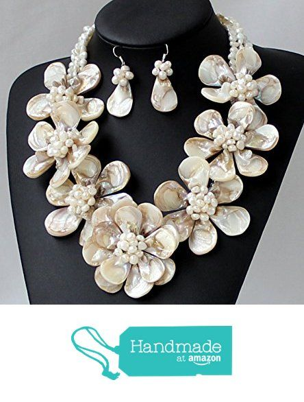 Hand-woven Natural Freshwater Pearls Mop Shell Flower Necklace With Earrings Set Wedding Bridal Jewelry Statement Chunky Necklace Bib Necklace from Thebestshow https://www.amazon.co.uk/dp/B01M7R3XZB/ref=hnd_sw_r_pi_dp_WvZ2zb5ZVR2K4 #handmadeatamazon