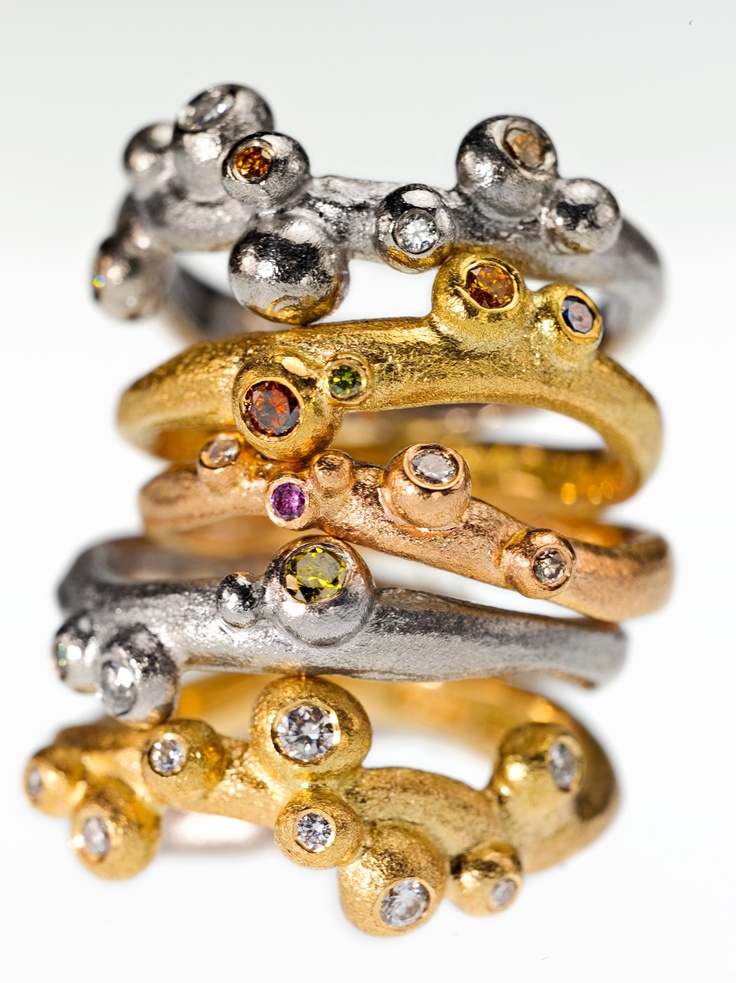 Stack of bubbles. Gold and diamonds.